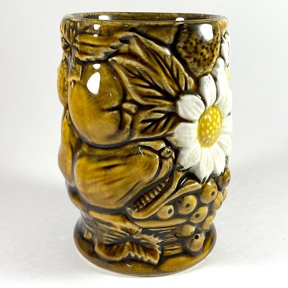 Vintage fruit and floral ceramic cup vase